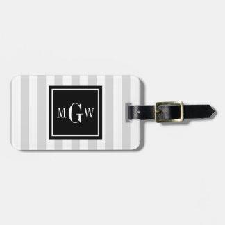 Lt Gray White Stripe Black Square 3 Monogram Luggage Tag