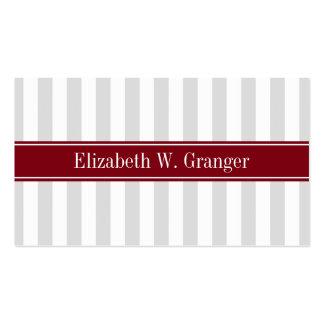 Lt Gray White Stripe Burgundy Name Monogram Pack Of Standard Business Cards