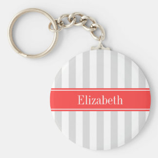 Lt Gray White Stripe Coral Red Name Monogram Keychains
