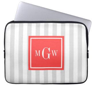Lt Gray White Stripe Coral Red Square 3 Monogram Laptop Sleeve