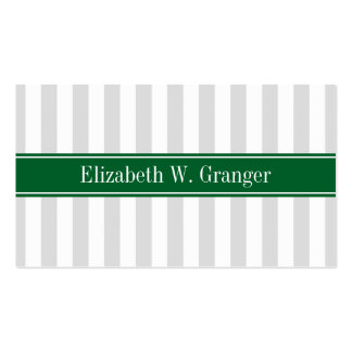 Lt Gray White Stripe Forest Green Name Monogram Pack Of Standard Business Cards