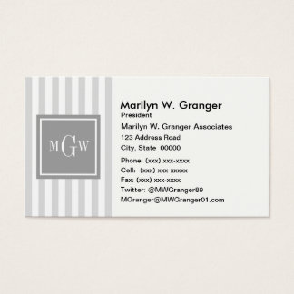 Lt Gray White Stripe Gray Square 3 Monogram Business Card