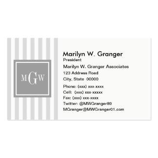 Lt Gray White Stripe Gray Square 3 Monogram Pack Of Standard Business Cards