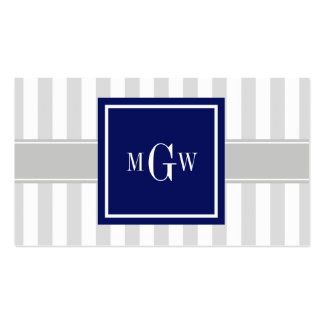 Lt Gray White Stripe Navy Square 3 Monogram Business Card Templates