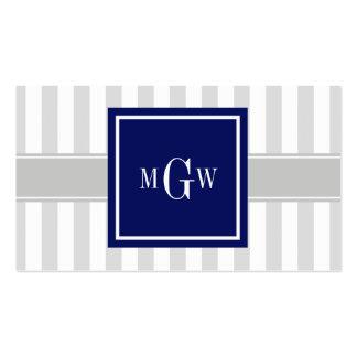 Lt Gray White Stripe Navy Square 3 Monogram Pack Of Standard Business Cards