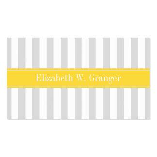 Lt Gray White Stripe Pineapple Name Monogram Business Cards