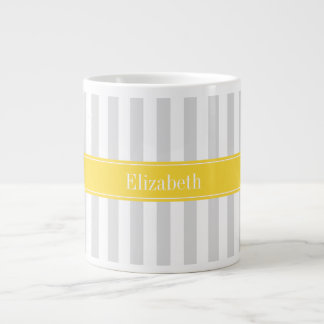 Lt Gray White Stripe Pineapple Name Monogram Giant Coffee Mug