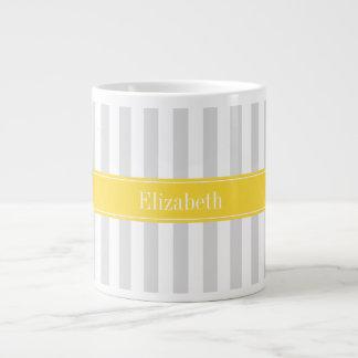 Lt Gray White Stripe Pineapple Name Monogram Jumbo Mug