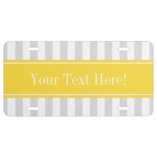 Lt Gray White Stripe Pineapple Name Monogram License Plate