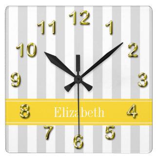 Lt Gray White Stripe Pineapple Name Monogram Square Wall Clock