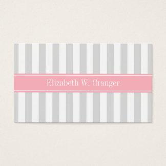 Lt Gray White Stripe Pink Name Monogram