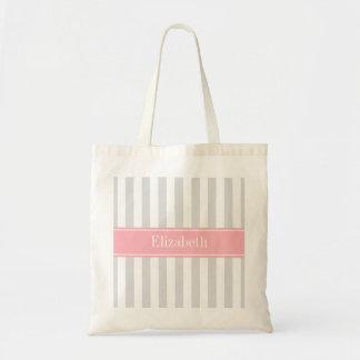 Lt Gray White Stripe Pink Name Monogram Budget Tote Bag