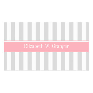 Lt Gray White Stripe Pink Name Monogram Pack Of Standard Business Cards