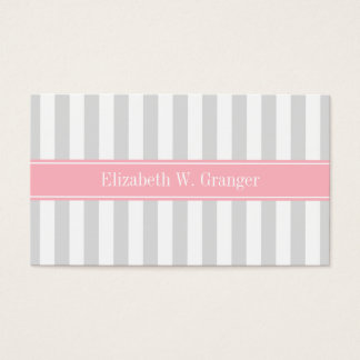 Lt Gray White Stripe Pink Name Monogram Business Card