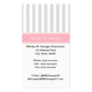 Lt Gray White Stripe Pink Name Monogram Business Cards