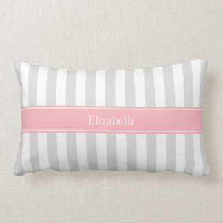 Lt Gray White Stripe Pink Name Monogram Lumbar Cushion