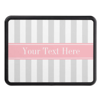 Lt Gray White Stripe Pink Name Monogram Trailer Hitch Covers