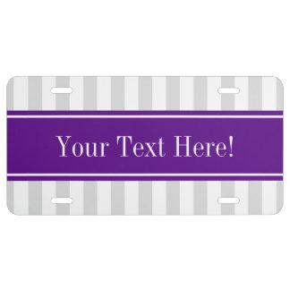Lt Gray White Stripe Purple Name Monogram License Plate