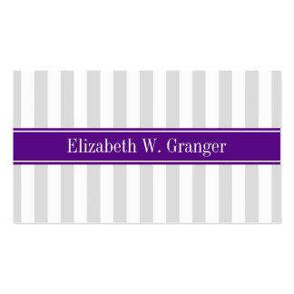 Lt Gray White Stripe Purple Name Monogram Pack Of Standard Business Cards