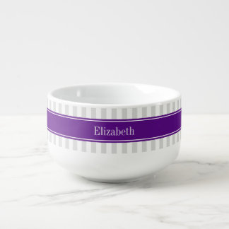 Lt Gray White Stripe Purple Name Monogram Soup Mug