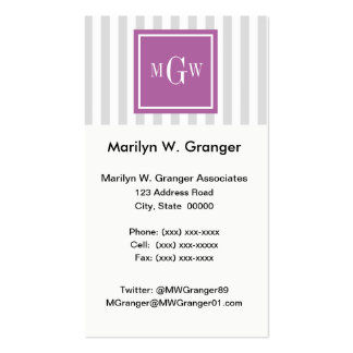Lt Gray White Stripe Rad Orchid Square 3 Monogram Pack Of Standard Business Cards