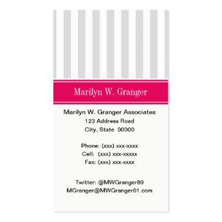 Lt Gray White Stripe Raspberry Name Monogram Business Card