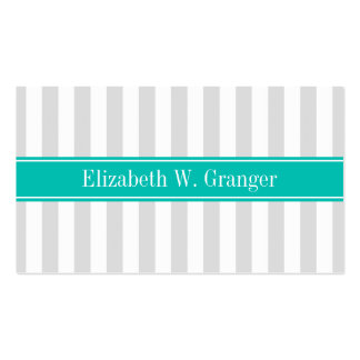 Lt Gray White Stripe Teal Name Monogram Business Card Templates