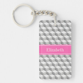 Lt Gray Wht 3D Look Cube HotPink #2 Name Monogram Double-Sided Rectangular Acrylic Key Ring