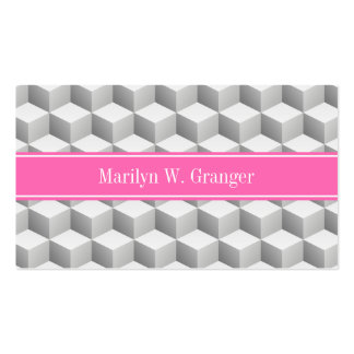 Lt Gray Wht 3D Look Cube HotPink #2 Name Monogram Pack Of Standard Business Cards