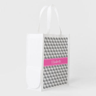 Lt Gray Wht 3D Look Cube HotPink #2 Name Monogram Market Totes