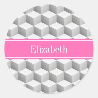 Lt Gray Wht 3D Look Cube HotPink #2 Name Monogram Round Sticker