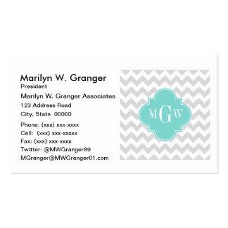 Lt Gray Wht Chevron Aqua Quatrefoil 3 Monogram Pack Of Standard Business Cards
