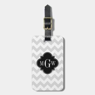 Lt Gray Wht Chevron Black Quatrefoil 3 Monogram Bag Tag