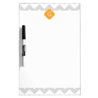Lt Gray Wht Chevron Cantaloupe Quatrefoil Monogram Dry Erase Board