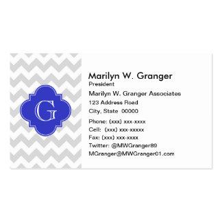 Lt Gray Wht Chevron Cobalt Quatrefoil Monogram Pack Of Standard Business Cards
