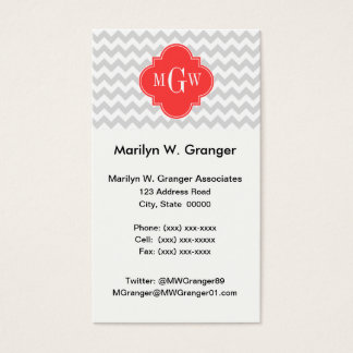 Lt Gray Wht Chevron Coral Quatrefoil 3 Monogram Business Card