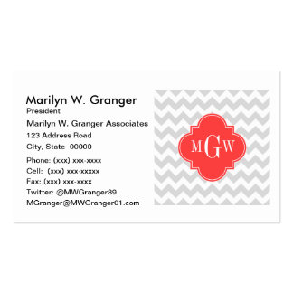 Lt Gray Wht Chevron Coral Quatrefoil 3 Monogram Pack Of Standard Business Cards