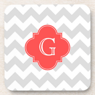 Lt Gray Wht Chevron Coral Red Quatrefoil Monogram Coaster