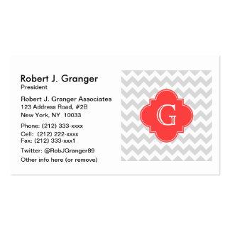 Lt Gray Wht Chevron Coral Red Quatrefoil Monogram Pack Of Standard Business Cards