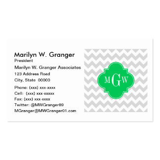 Lt Gray Wht Chevron Emerald Quatrefoil 3 Monogram Pack Of Standard Business Cards