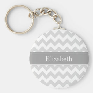 Lt Gray Wht Chevron Gray Name Monogram Key Ring