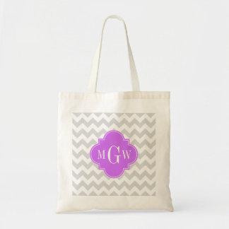 Lt Gray Wht Chevron Lilac Quatrefoil 3 Monogram Tote Bag