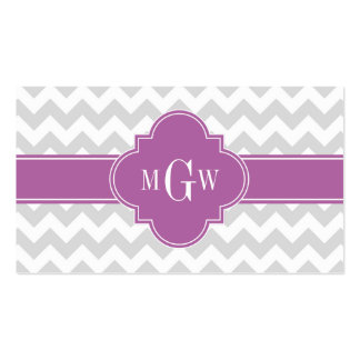 Lt Gray Wht Chevron Orchid Quatrefoil 3 Monogram Pack Of Standard Business Cards