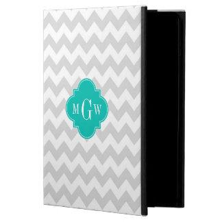 Lt Gray Wht Chevron Teal Quatrefoil 3 Monogram iPad Air Cover