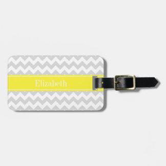 Lt Gray Wht Chevron Yellow Name Monogram Luggage Tags