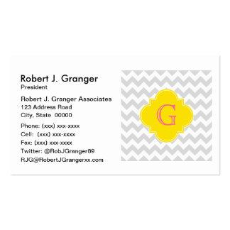 Lt Gray Wht Chevron Yellow Quatrefoil Monogram Pack Of Standard Business Cards