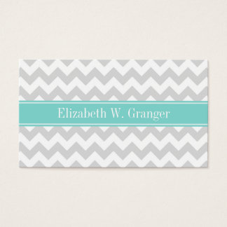 Lt Gray Wht Chevron ZigZag Aqua Name Monogram Business Card