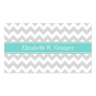 Lt Gray Wht Chevron ZigZag Aqua Name Monogram Pack Of Standard Business Cards