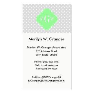 Lt Gray Wht Dots Mint Green Quatrefoil 3 Monogram Pack Of Standard Business Cards
