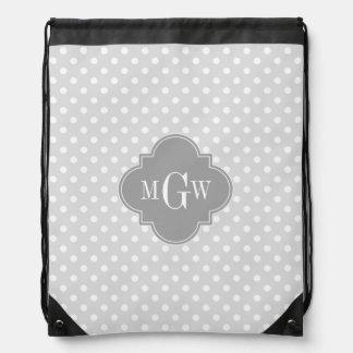 Lt Gray Wht Polka Dots Gray Quatrefoil 3 Monogram Backpack